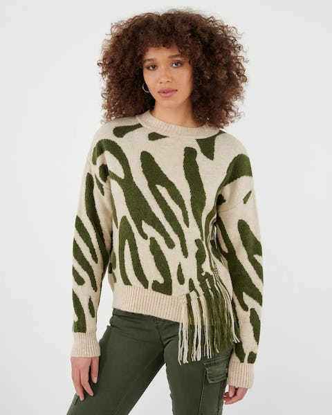 Khaki and White Zebra Knitted Jumper with Fringe Detail