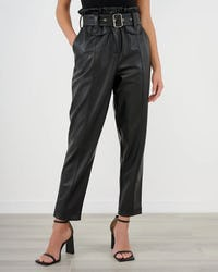 Black Faux Leather Belted Paper Bag Trousers