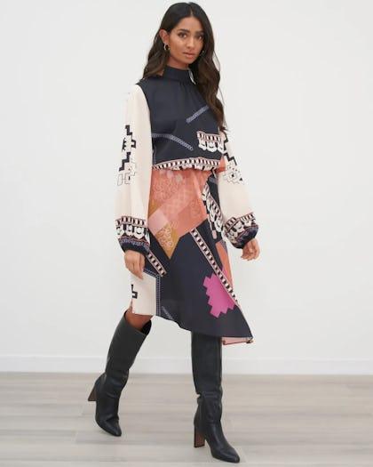 Black Mixed Print Asymmetric Hem Dress