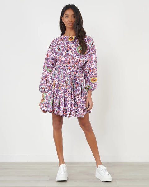 Abstract Floral Print Tie Waist Mini Dress