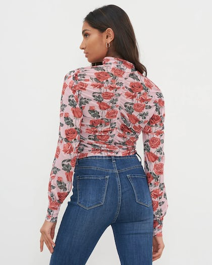 Pink Ruched Front Mesh Floral Printed Top