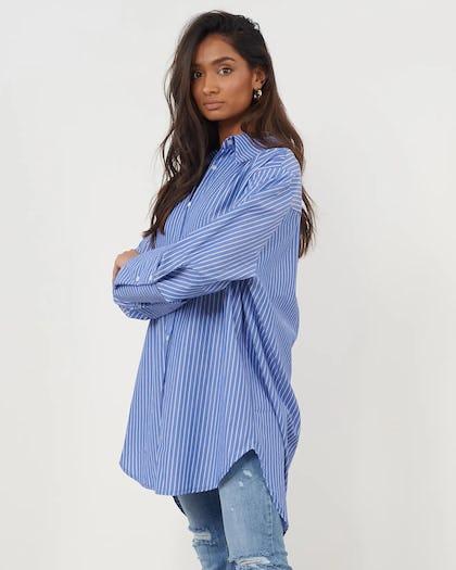Blue & White Oversized Stripe Shirt