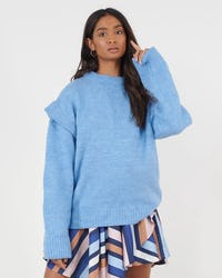 Blue Oversized Knitted Jumper With Shoulder Detail