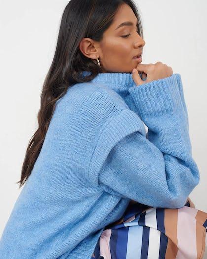 Blue Oversized Knitted Jumper With Shoulder Detail