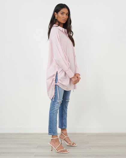 Pink Gathered Detail Oversized Shirt