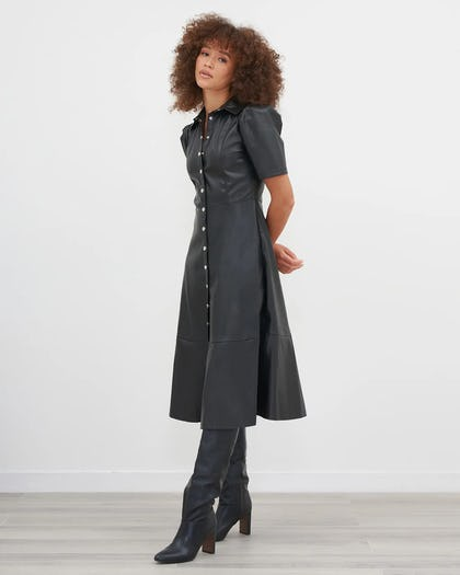 Black PU Midi Skater Dress With Button Front