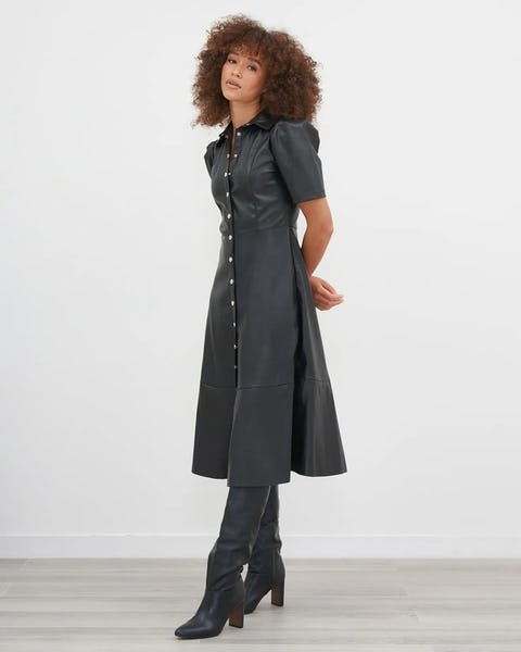 Black Faux Leather Midi Skater Dress With Button Front