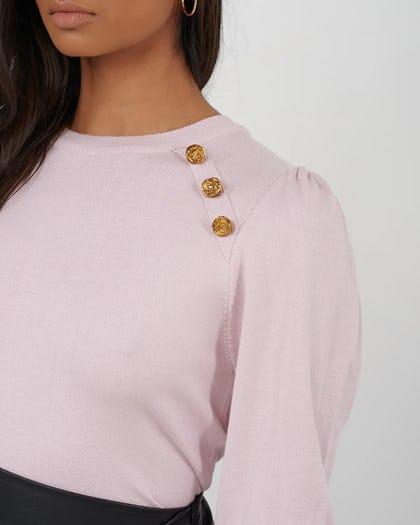 Pink Knitted Jumper With Button Detail