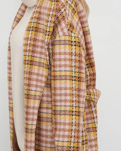 Pink Checked Belted Oversized Coat