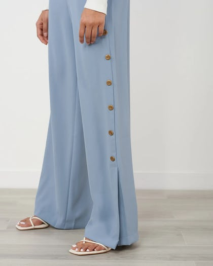 Blue Wide Leg Trouser With Button Detail