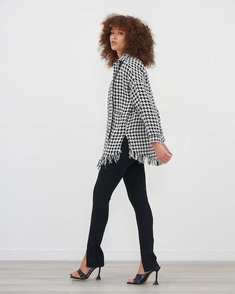 Black & White Houndstooth Print Jacket