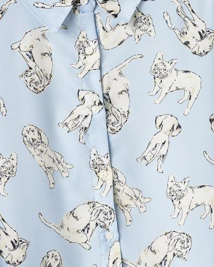 Blue Dog Print Oversized Blouse