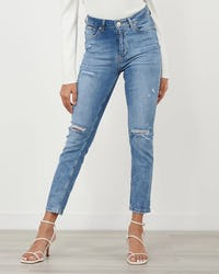 Blue Denim Stretch Skinny Jean with Distressing