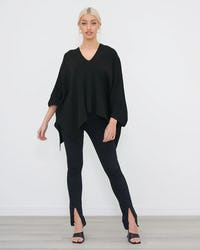 Black Oversized Asymmetric Hem Jumper