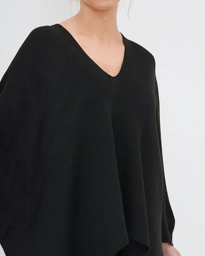 Black Oversized Asymmetric Hem Jumper