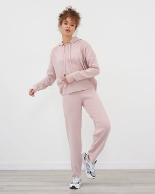 Pink Cuffed Knitted Tracksuit
