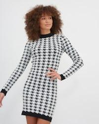Black & White Houndstooth Knitted Mini Dress