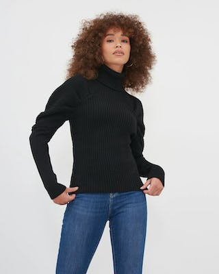 Black Roll Neck Knitted Jumper With Puff Sleeve