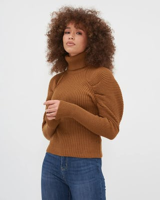 Tan Roll Neck Knitted Jumper With Puff Sleeve