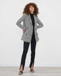 Black & White Boucle Weave Double Breasted Blazer