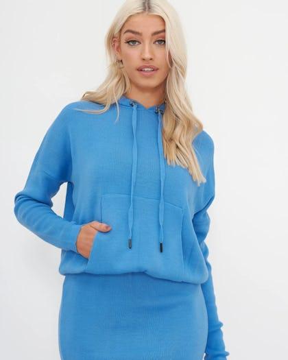 Blue Hooded Knitted Midi Dress