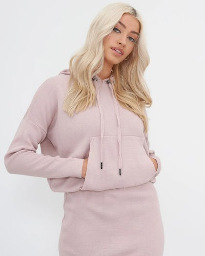 Pink Hooded Knitted Midi Dress