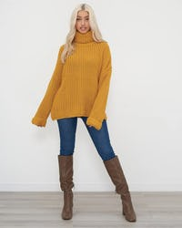 Mustard Roll Neck Oversized Knitted Jumper