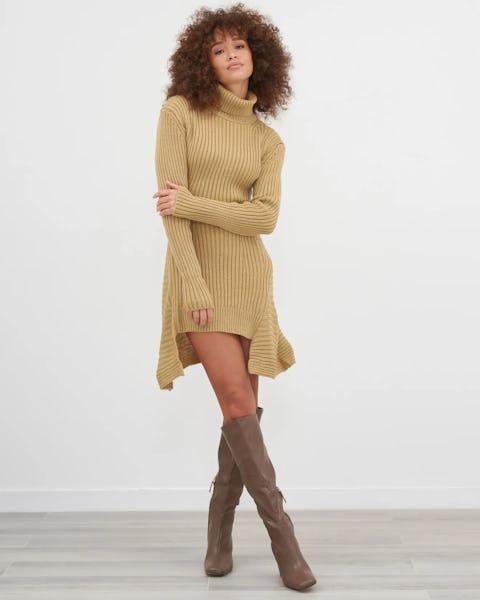Camel Knitted Peplum Dress