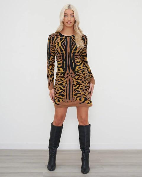 Mustard And Black Animal Jacquard Knitted Dress
