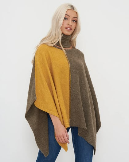 Yellow and Grey Colour Block Poncho