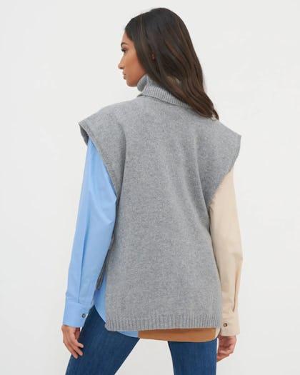 Grey Roll Neck Tie Side Vest