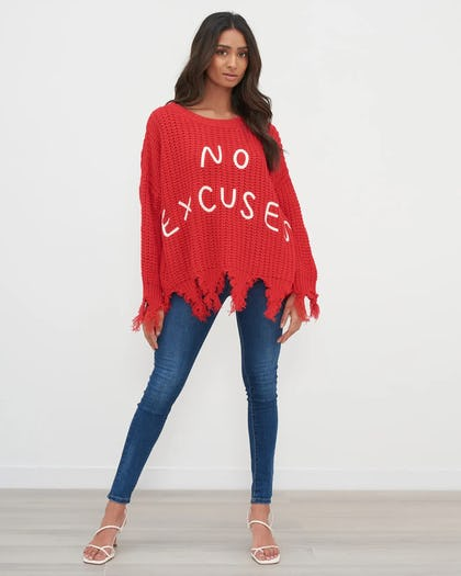 Red Distressed No Excuses Knit Jumper
