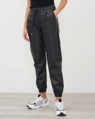 Black Faux Leather Cuffed Trousers