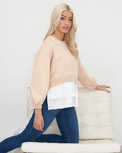 Beige and White Jumper with Shirt Hem
