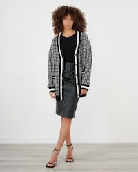 Black and White Boucle Longline Cardigan