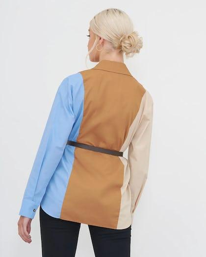Colour Block Cotton Shirt with Belt