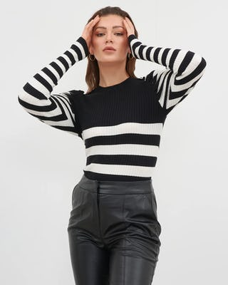 Black & White Contrast Stripe Jumper