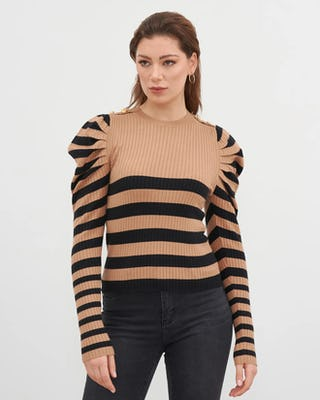 Camel & Black Contrast Stripe Jumper
