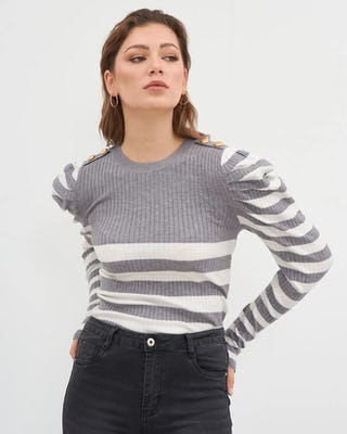 Grey & White Contrast Stripe Jumper