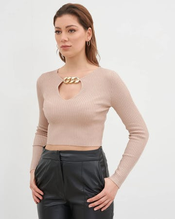 Beige Chain Detail Ribbed Jumper