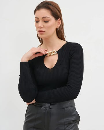 Black Chain Detail Ribbed Jumper