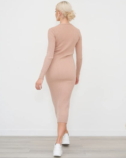 Beige V Neck Ribbed Jumper Dress