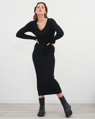 Black V Neck Ribbed Jumper Dress