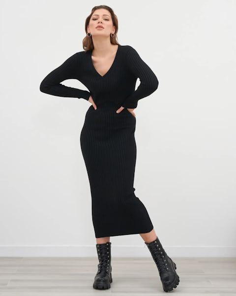 Beige V Neck Ribbed Jumper Dress