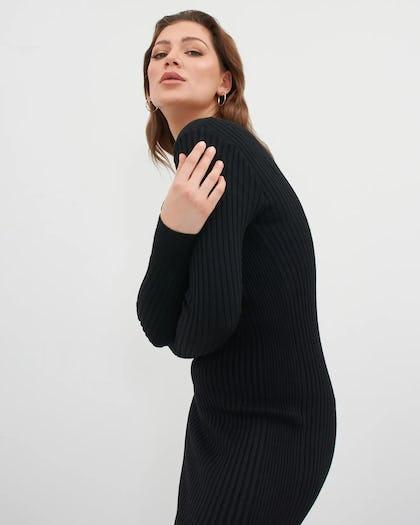 Black V Neck Ribbed Jumper Dress