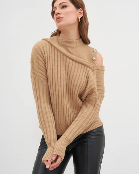 Camel Asymmetrical Ribbed Sweater