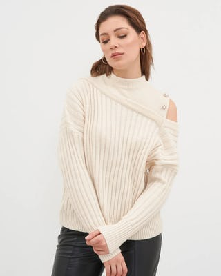 Cream Asymmetrical Ribbed Sweater
