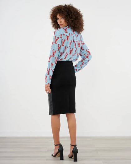 Blue And Red Lobster Print Blouse