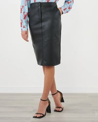 Black Faux Leather Pencil Midi Skirt