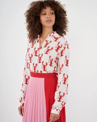 White And Red Lobster Print Blouse